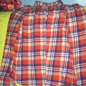 Flannel Shirt Orange Purple Red